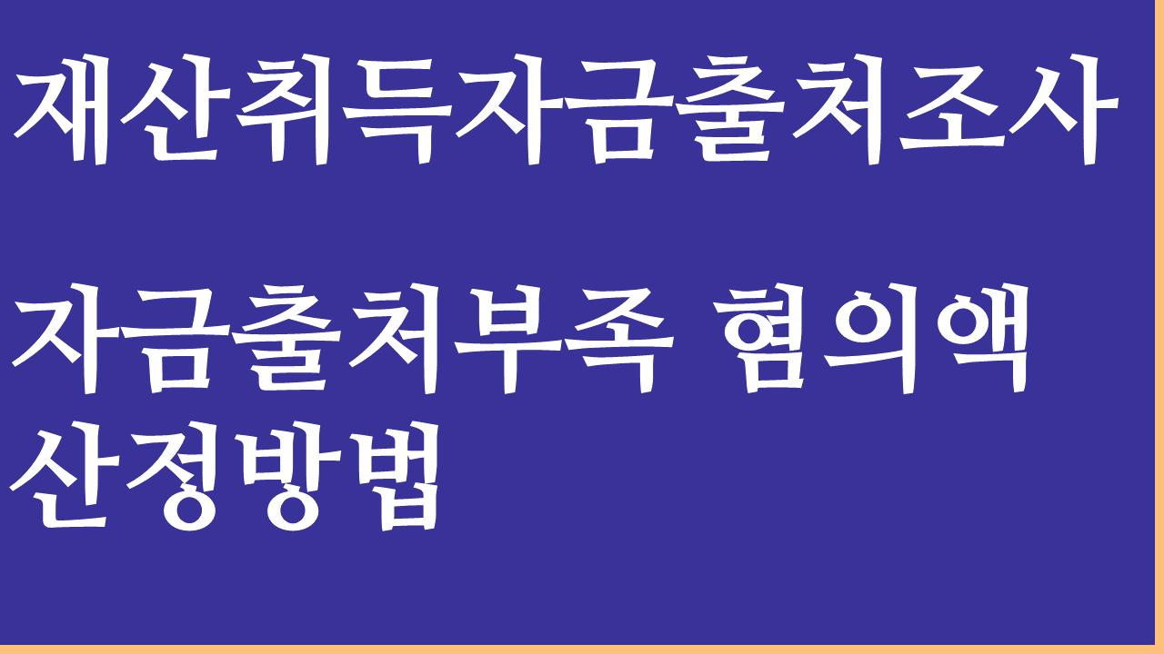 자금출처부족혐의액 산정방법의 위법성